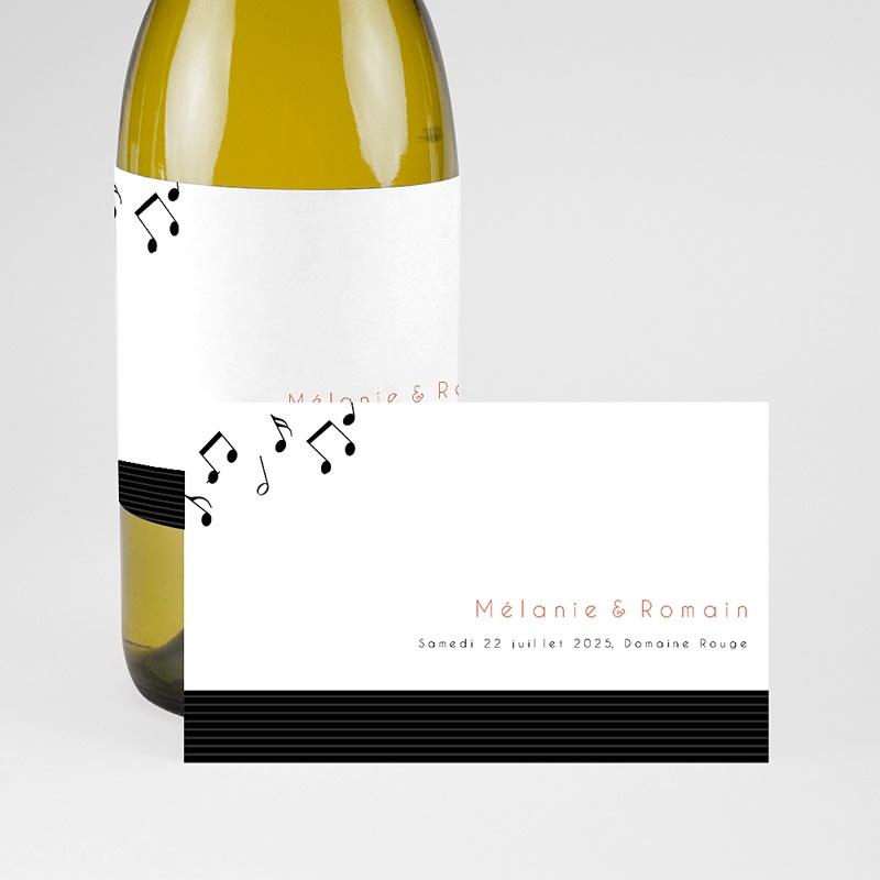 Etiquette Bouteille Mariage Disque Vinyl, Champagne, 8 x 13 cm pas cher