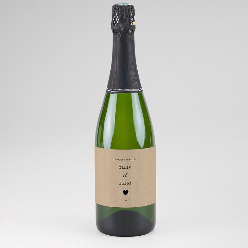 Etiquette Bouteille Mariage Notre histoire, Champagne, Kraft