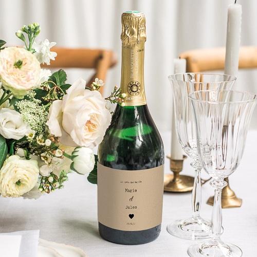Etiquette Bouteille Mariage Notre histoire, Champagne, Kraft gratuit