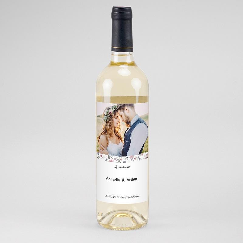 Etiquette Bouteille Mariage Fleurs romantiques, Photo, Vin