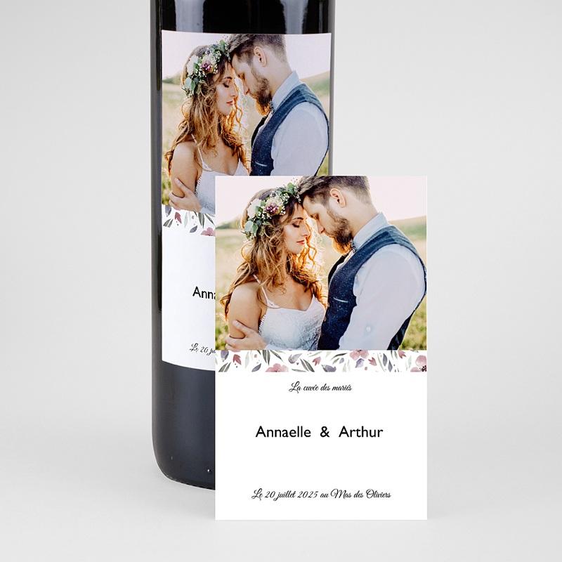 Etiquette Bouteille Mariage Fleurs romantiques, Photo, Vin pas cher