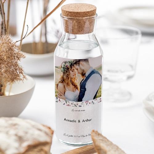 Etiquette Bouteille Mariage Fleurs romantiques, Photo, Vin gratuit