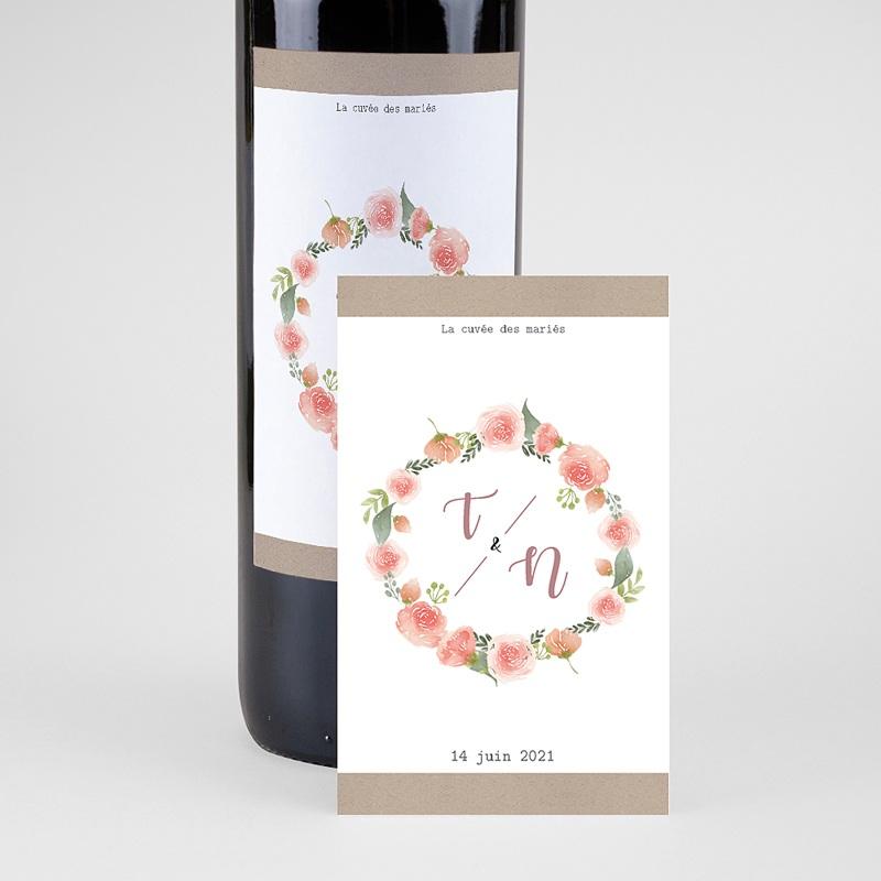 Etiquette Bouteille Mariage Diadème Floral, Eau & Vin, 8 x 13 cm pas cher