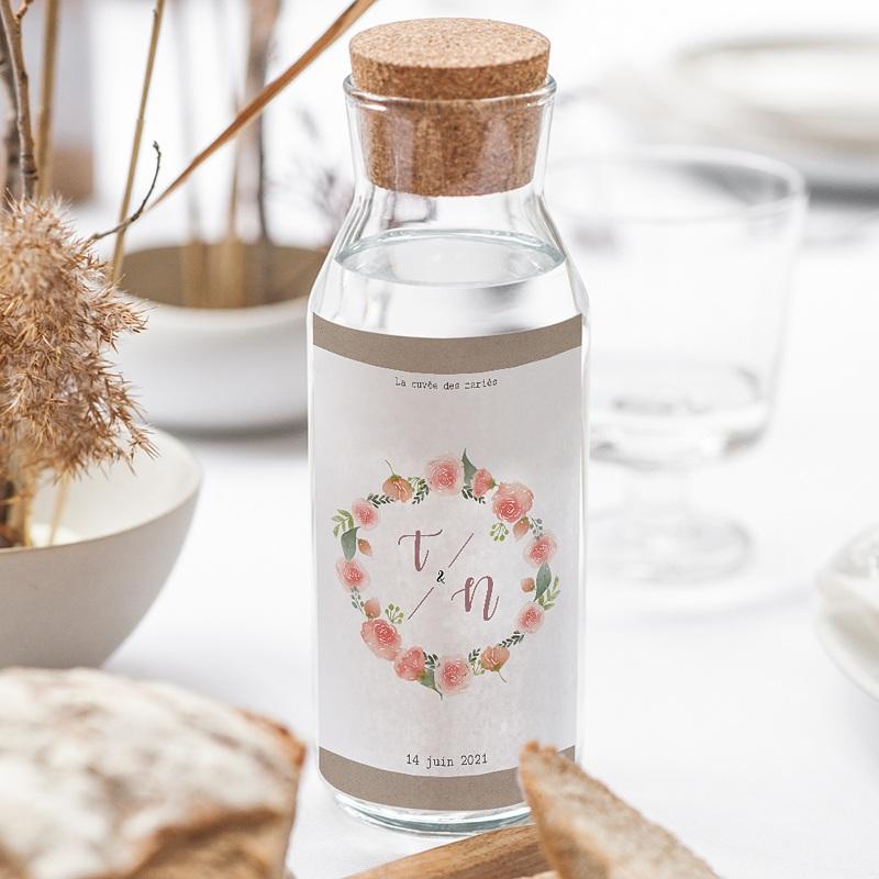 Etiquette Bouteille Mariage Diadème Floral, Eau & Vin, 8 x 13 cm gratuit