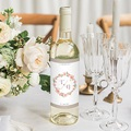 Etiquette Bouteille Mariage Diadème Floral, Eau & Vin, 8 x 13 cm