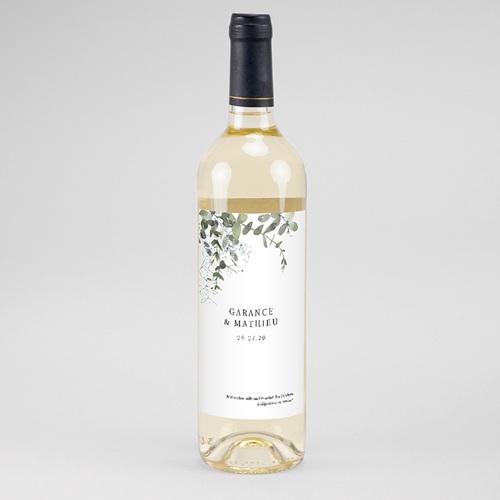 Etiquette Bouteille Mariage Eucalyptus Floral, Eau & Vin