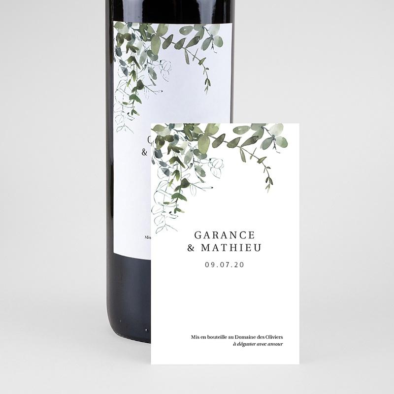 Etiquette Bouteille Mariage Eucalyptus Floral, Eau & Vin pas cher