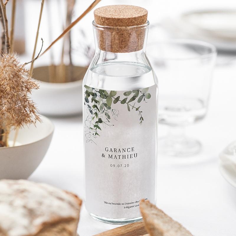 Etiquette Bouteille Mariage Eucalyptus Floral, Eau & Vin gratuit