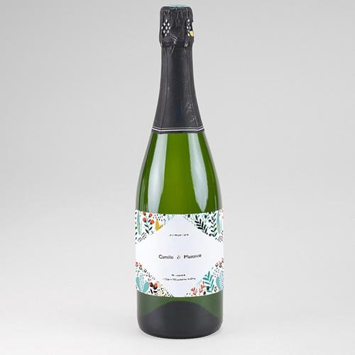 Etiquette Bouteille Mariage Prairie sauvage, Champagne, 13 x 8 cm