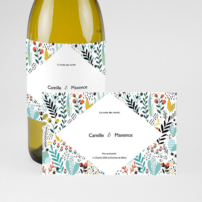 Etiquette Bouteille Mariage Prairie sauvage, Champagne, 13 x 8 cm pas cher