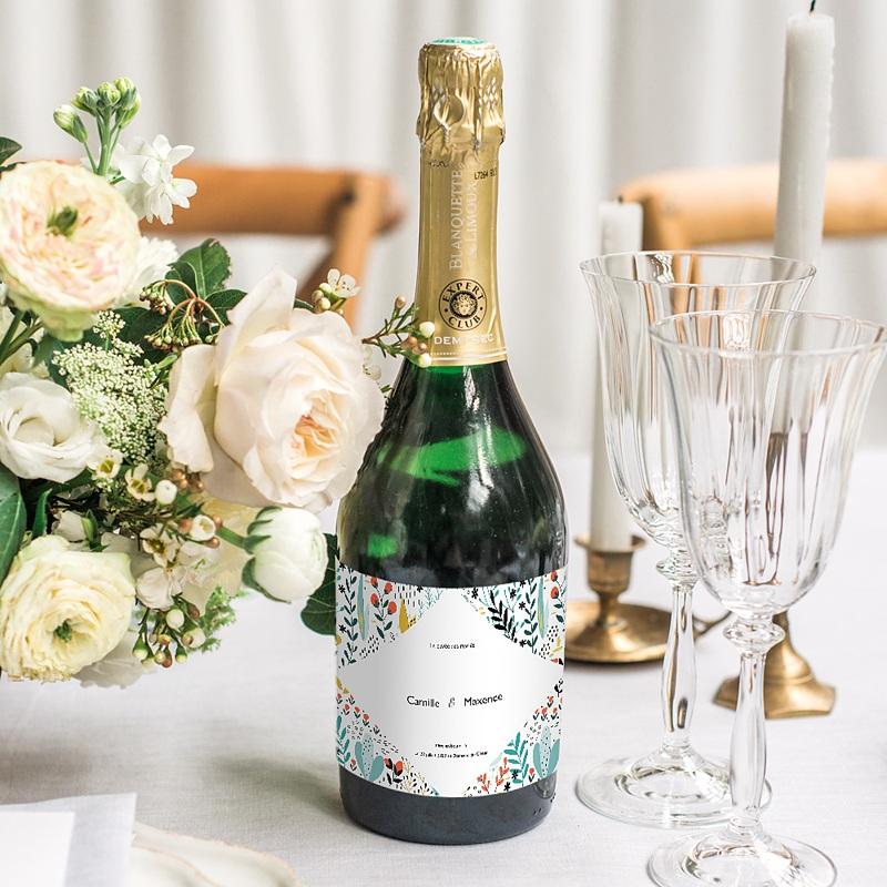 Etiquette Bouteille Mariage Prairie sauvage, Champagne, 13 x 8 cm gratuit