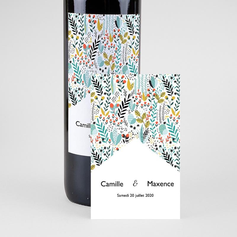 Etiquette Bouteille Mariage Prairie sauvage, Eau & Vin, 8 x 13 cm pas cher