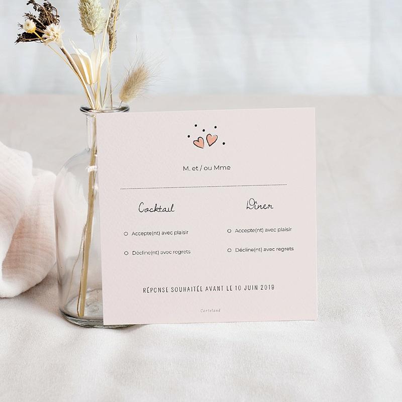 Carton Réponse Mariage 2 coeurs, invitation réponse, RSVP pas cher