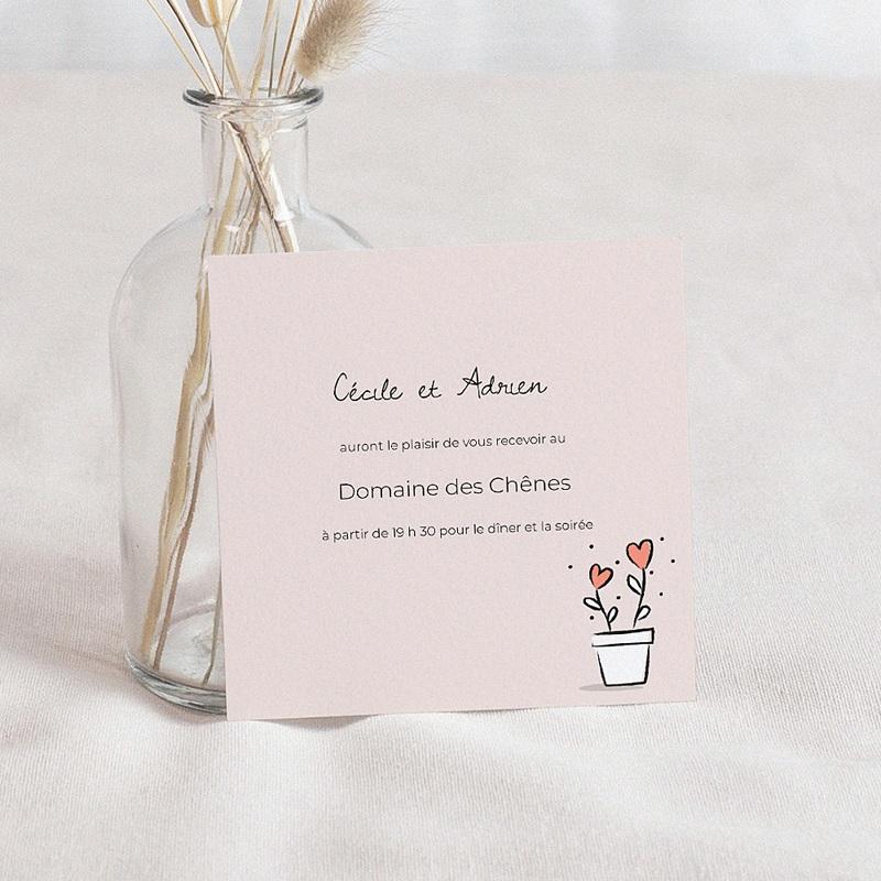 Carte Invitation Mariage 2 coeurs, Cocktail & Soirée