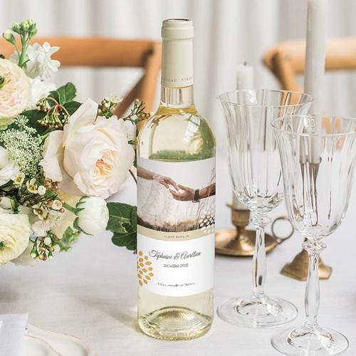 Etiquette Bouteille Mariage Ambiance Provençale, Eau & Vin, Photo