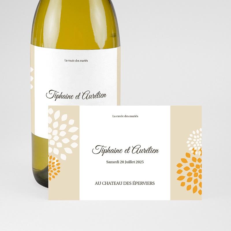 Etiquette Bouteille Mariage Ambiance Provençale, Champagne, 13 x 8 cm pas cher