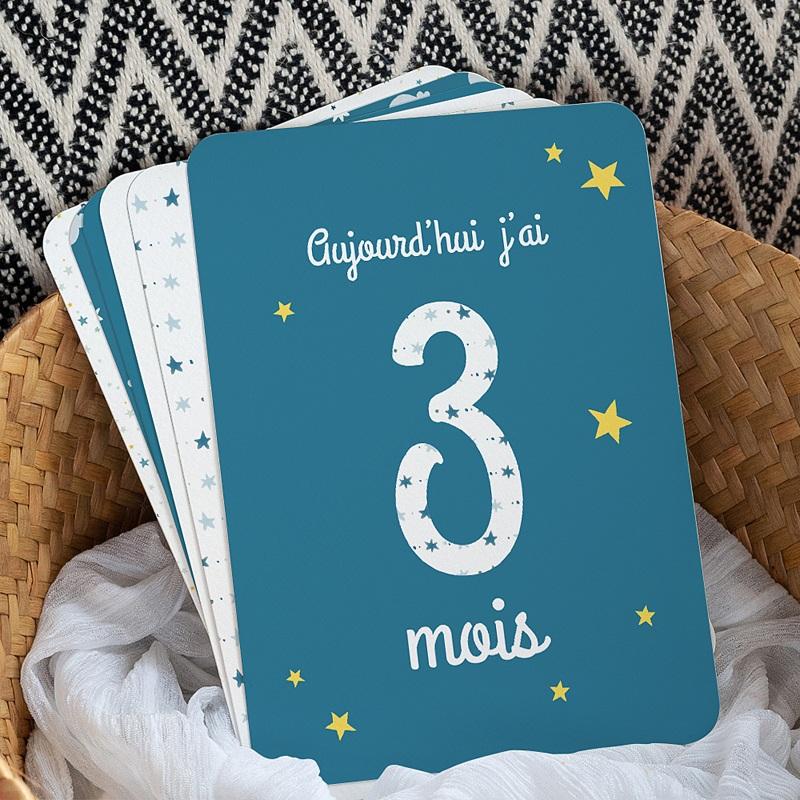 Carte Etape Bébé 1ère année, étoiles, bleu