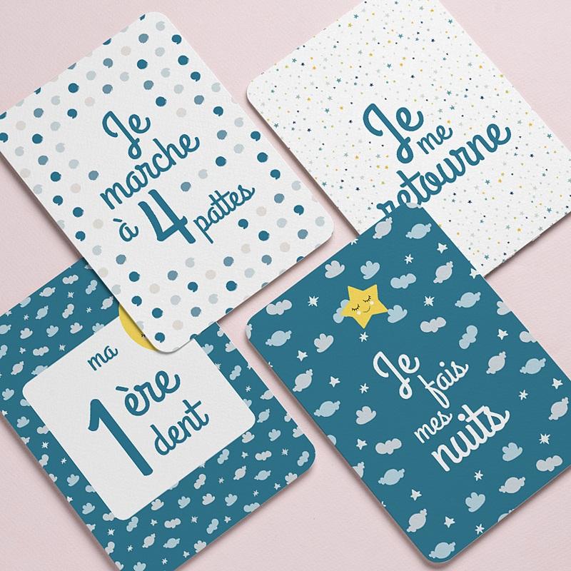 Carte Etape Bébé 1ère année, étoiles, bleu gratuit