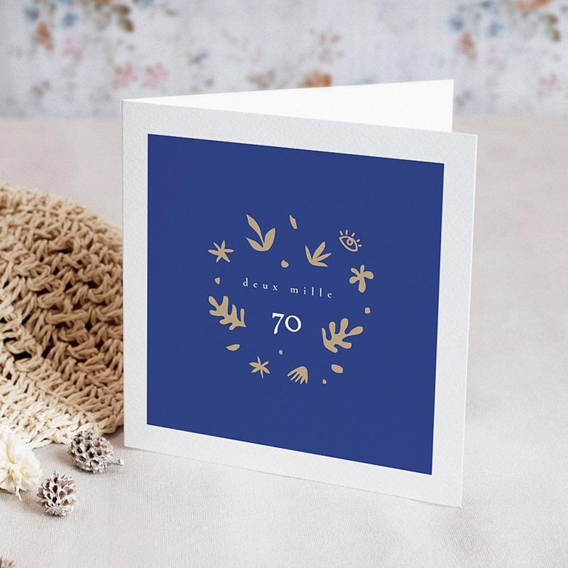 Carte Bonne Année Bleu Majorelle, Couronne dorée