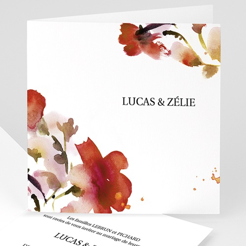 Faire-Part Mariage sans photo - Aquarelle Zelie 9093 thumb