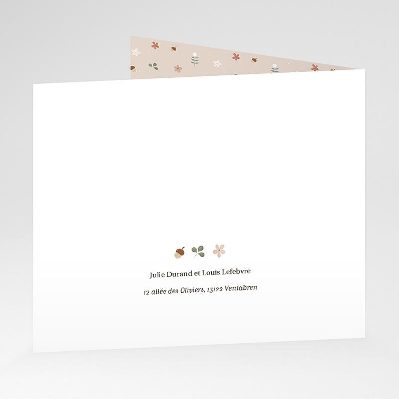 Carte Remerciement Naissance Abécédaire rétro, Beige rosé, pli-décalé gratuit