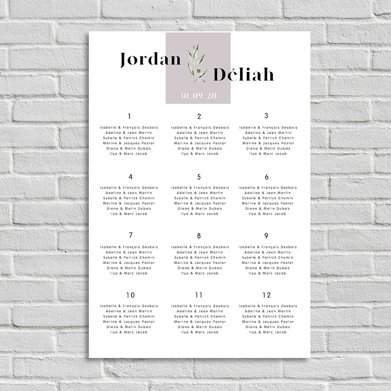 Plan Table Mariage Be Bold, Poster Portrait, 60 x 90 cm