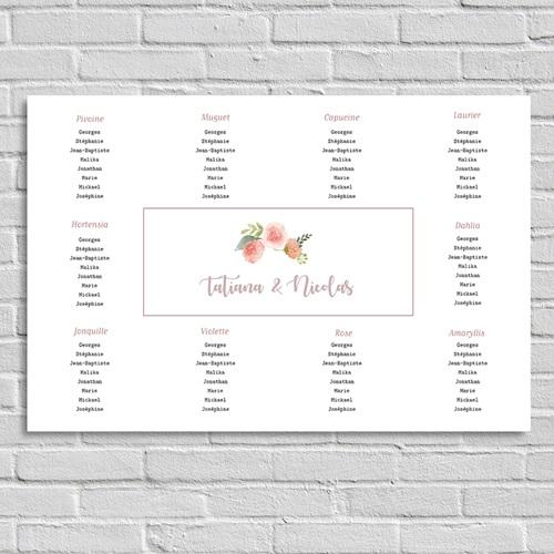 Plan Table Mariage Diadème Floral, Poster Paysage, 90 x 60 cm