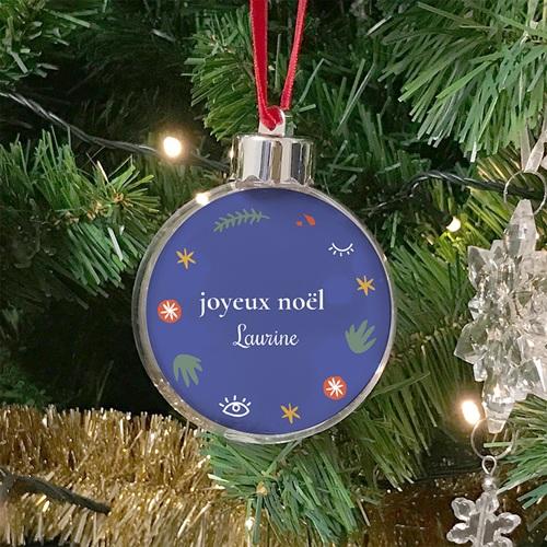 Boule Sapin Noël Personnalisée Joyeux Noël, Style Fauvisme, Bleu