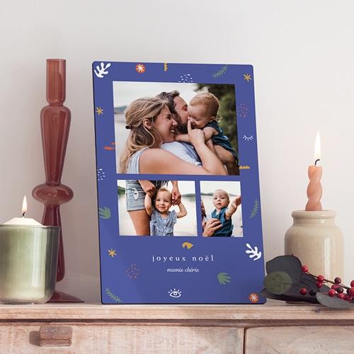 Cadre Photo Personnalisé Style Fauvisme, 3 photos pêle mêle, Bleu
