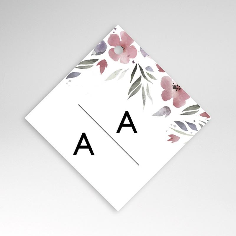 Etiquette Cadeau Mariage Fleurs romantiques, à nouer, 4,5 x 4,5 cm