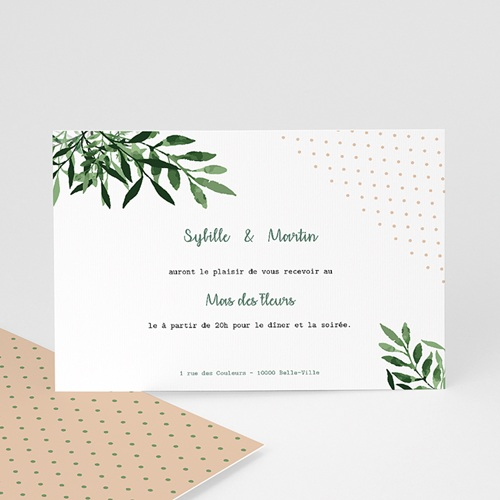 Carte Invitation Mariage Végétal, Cocktail & Soirée