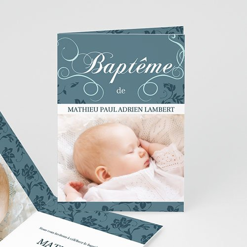 Faire-part Baptême Fille - Aqua 9121