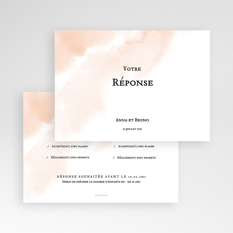 Carton Réponse Mariage Aquarello, Carte RSVP pas cher