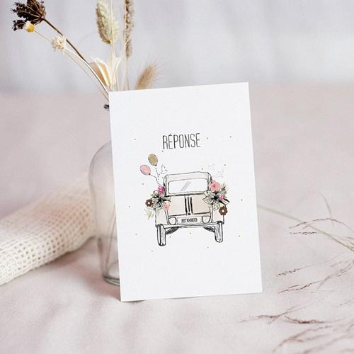 Carton Réponse Mariage 2CV Citroen, Just married, RSVP
