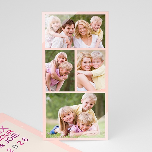 Cartes Multi-photos 3 & + - 4 photos - Voeux poudrés 9125