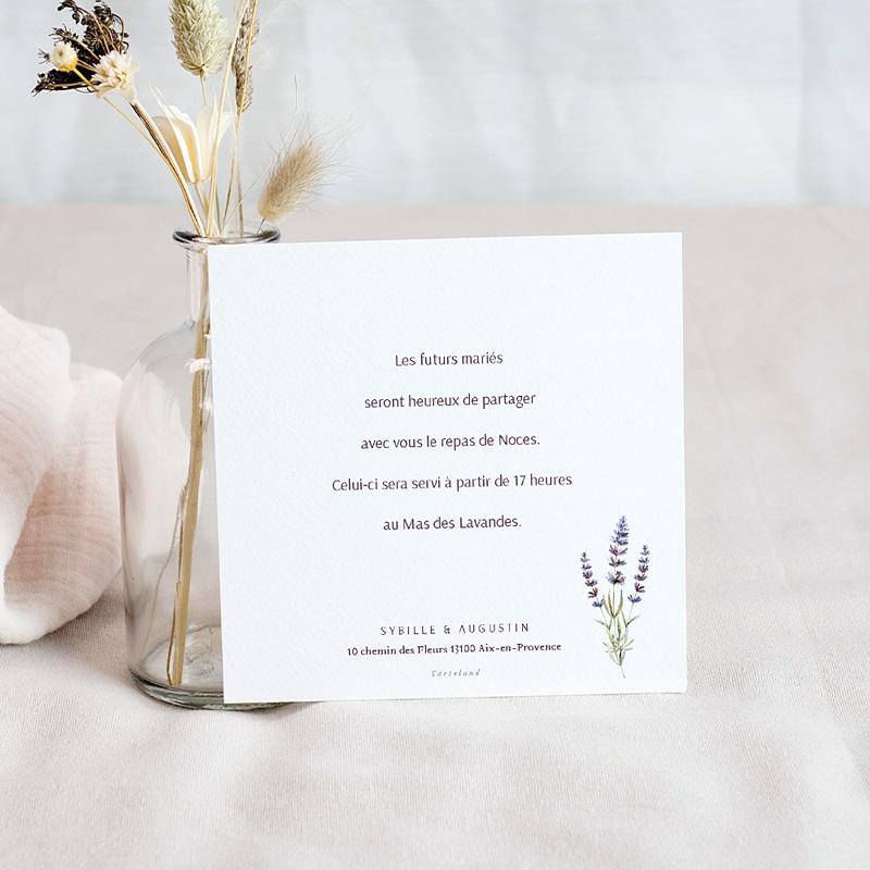 Carte Invitation Mariage Bouquet de Lavande, Photo, Cocktail & Soirée pas cher