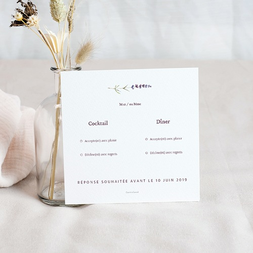 Carton Réponse Mariage Bouquet de Lavande, Rsvp pas cher