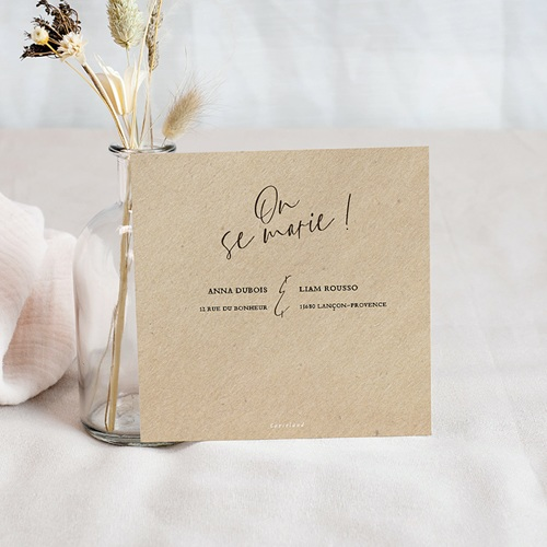 Save The Date Mariage Cadre Feuillage, Photo & Kraft, 10 x 10 pas cher