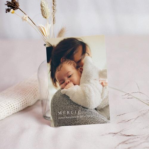 Carte Remerciement Naissance Fille La mère et l'enfant, Photo, Line art