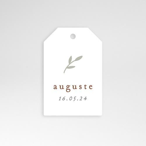 Etiquette Cadeau Naissance Brin de Bonheur, perforée, 6 x 4 cm