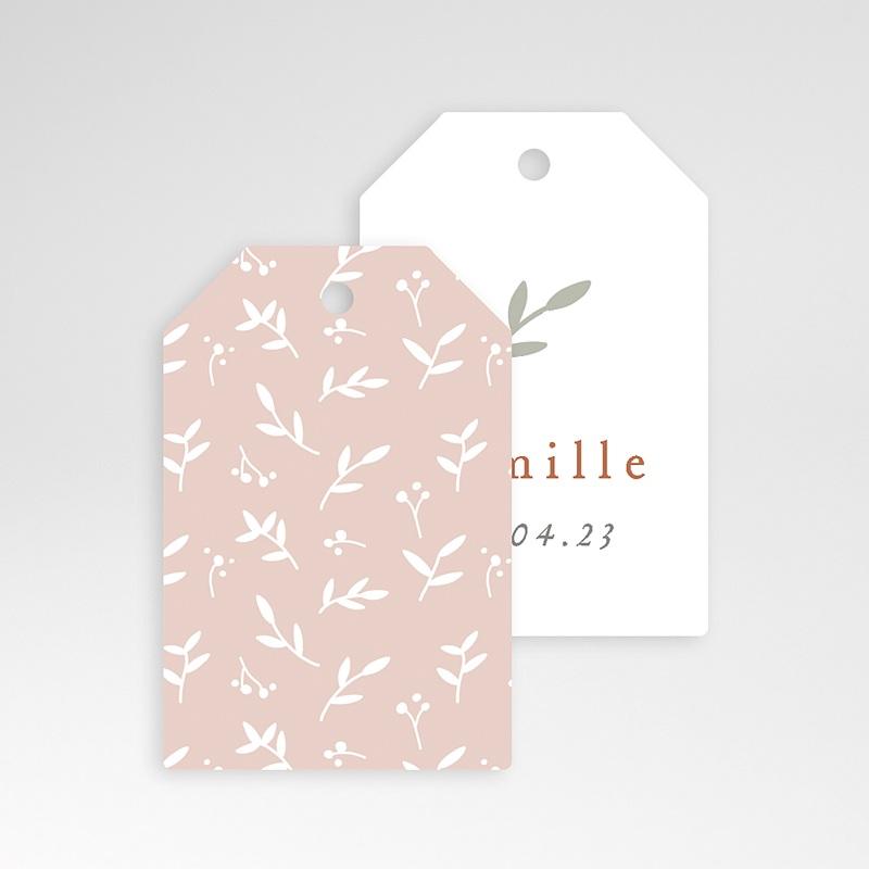 Etiquette Cadeau Naissance Brin de bonheur, rose tendresse, 6 x 4 pas cher