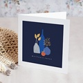 Carte de Voeux Vases bleus, Fleurs dorées