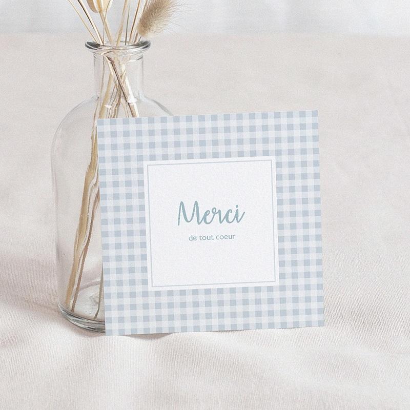 Carte Remerciement Naissance Garçon Annonce vichy - bleu, 10 x 10 cm