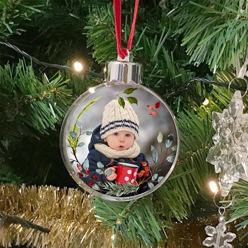 Boule Sapin Noël Personnalisée Couronne de Noël rustique, Photo, Ø 7,5 cm