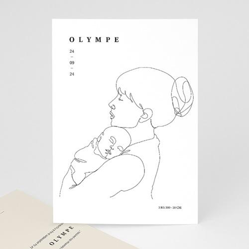 Faire-Part Naissance Design La mère et l'enfant, Line art, carte simple
