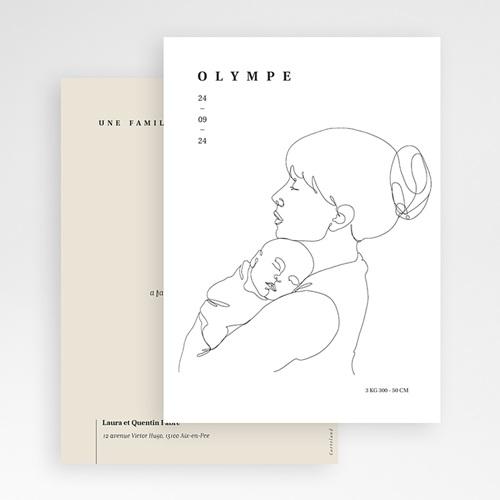 Faire-Part Naissance Design La mère et l'enfant, Line art, carte simple gratuit