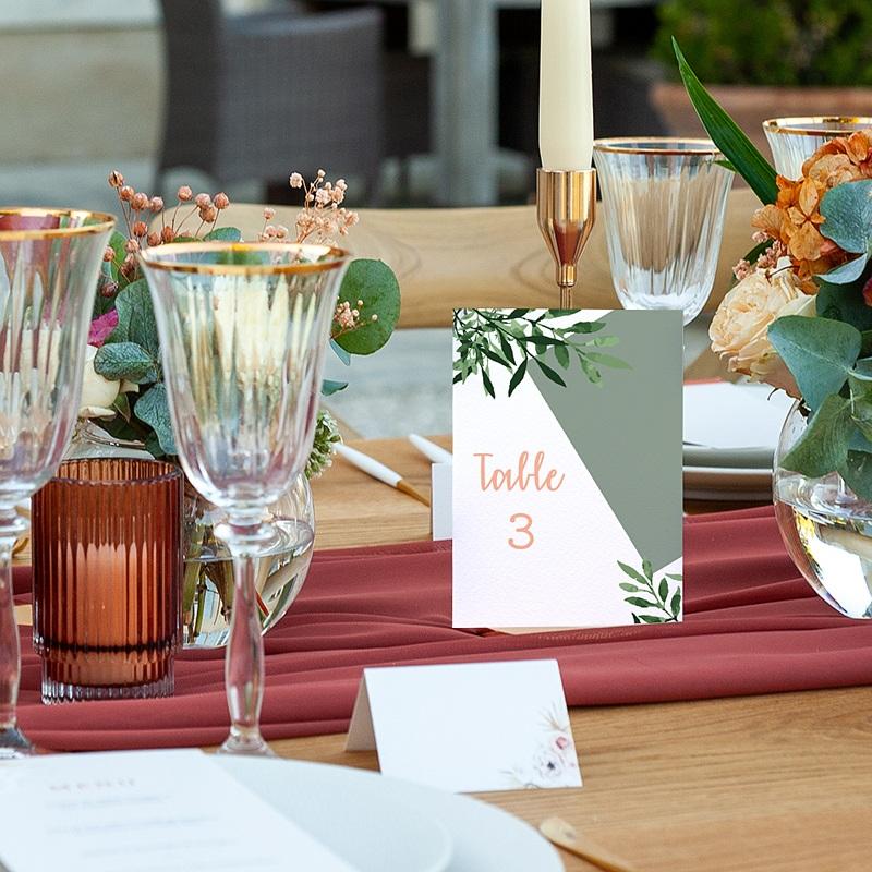 Marque Table Mariage Végétal, Lot de 3 repères de table pas cher