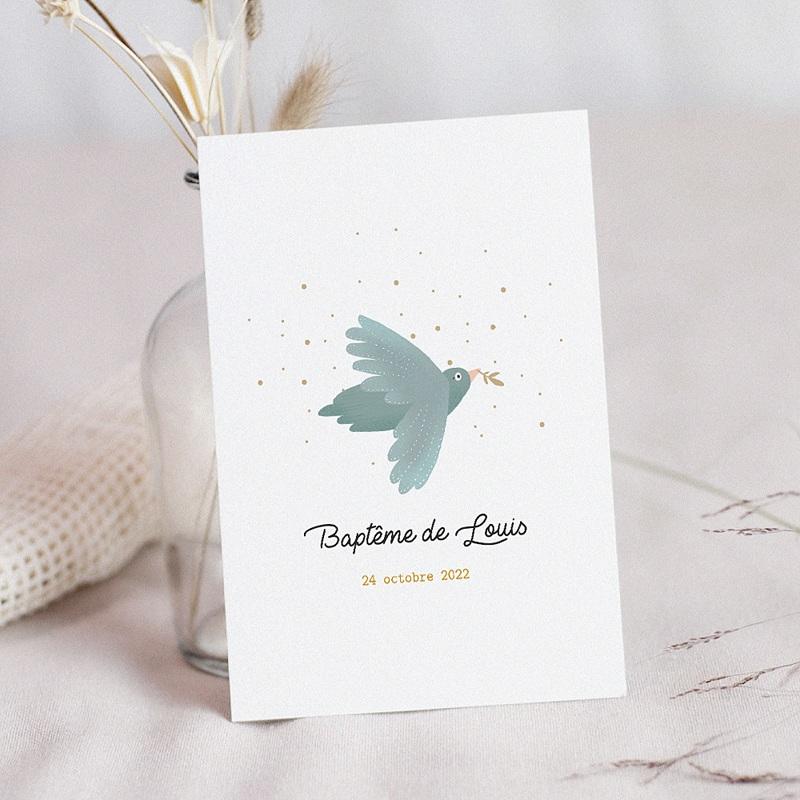 Faire-Part Baptême Mixte Oiseau bleu pastel, Pluie dorée