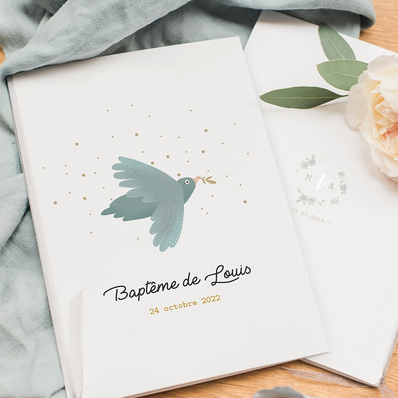 Livret Messe Baptême Oiseau bleu pastel, Pluie dorée, Couverture 15 x 22 cm pas cher