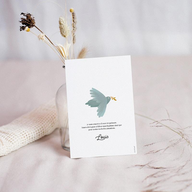 Carte Remerciement Baptême Oiseau bleu pastel, Brin doré & Photo pas cher